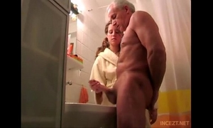 Granddaughter assist her grand father cum discharge