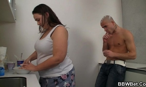 Fat honey and her guy play with ice-cream and fuck