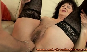 Mature granny in nylons toy glad